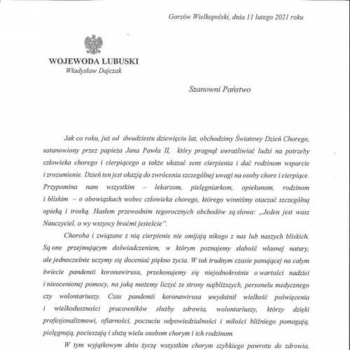 List od Wojewody Lubuskiego